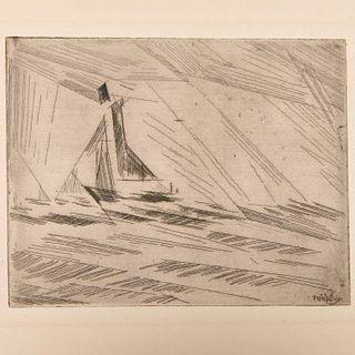 Lyonel Feininger, etching, 1917