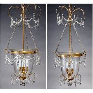 Pair Baltic Neoclassical style bell jar lanterns
