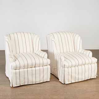 Pair Designer custom swivel lounge chairs