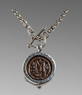 Ancient Byzantine Bronze Coin c.600 AD, set in a Silver Necklace.