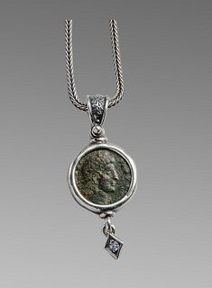 Ancient Roman Constantine Bronze coin set in a Silver Necklace.