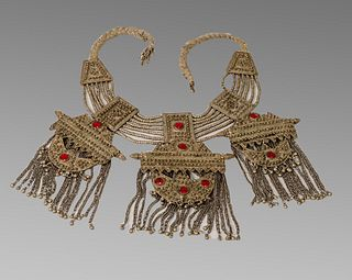 Antique Large Middle Eastern Tribal Art Silver Necklace.