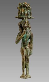 Ancient EGYPTIAN Bronze Figure of Harpokrates Late Period. 664-332 BCE.