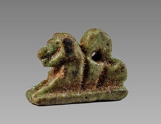 Ancient EGYPTIAN Faience Lion god Sekhmet Amulet c.635-30 BCE.