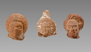 Lot of 3 Ancient Roman Egyptian Terracotta Heads c.2nd century AD.