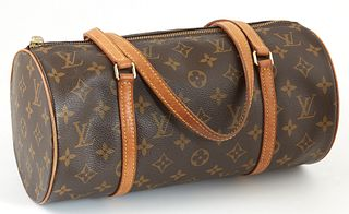Louis Vuitton Brown Monogram Coated Canvas 30 Papillon Shoulder Bag, the vachetta leather straps with golden brass hardware, the zip...