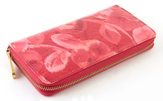 Louis Vuitton Pink and Red Monogram Ikat Zippy Wallet, the calf leather with golden brass accent, opening to two card holders, six b...