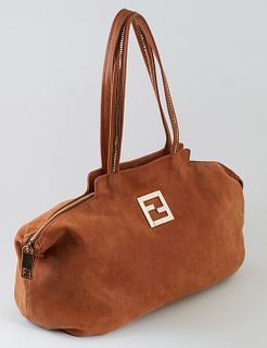 """Fendi Brown Calf Leather Nubuck Medium Chains Tote, with double handles and gold hardware, the interior of the bag lined in """"Fendi""""..."""