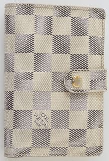 Louis Vuitton Ivory Damier Azur Portefeuille Vienova Wallet, the coated canvas with golden brass accents, opening to two card holder...