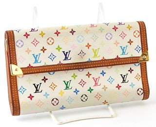 Louis Vuitton Limited Edition Murakami International Wallet, the white multicolor monogram coated canvas with vachetta leather borde...