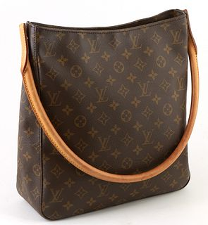 Louis Vuitton Brown Monogram Coated Canvas GM Looping Shoulder Bag, with golden brass hardware and vachetta leather strap, opening t...