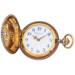 POCKET WATCH LONGINES GRAND PRIX PARIS 1889 WITH DIAMONDS AND ENAMEL. 18K YELLOW GOLD