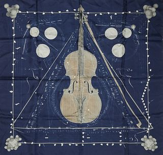 Hermes 'La Musique des Spheres' Silk Scarf, by Zoe Pauwels, first issued in 1988, featuring a viola on navy background, with signatu...