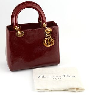"""Christian Dior Burgundy Micro Diorissimo Patent Leather MM Lady Handbag, with golden brass accents and hanging """"D-i-o-r"""" keychain, o..."""