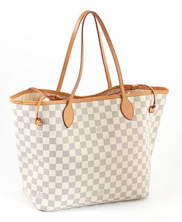 Louis Vuitton Ivory Damier Azur Coated Canvas MM Neverfull Shoulder Bag, the vachetta straps with golden brass hardware, opening to ...