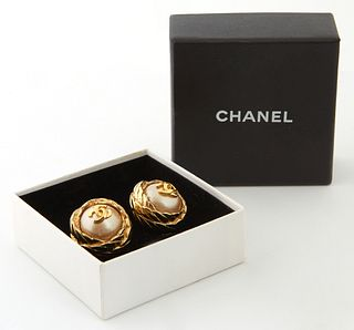 Pair of Chanel Pearl Logo Earrings, with gold stainless steel rope twist design, with Chanel presentation box, Dia.- 3/4 in.