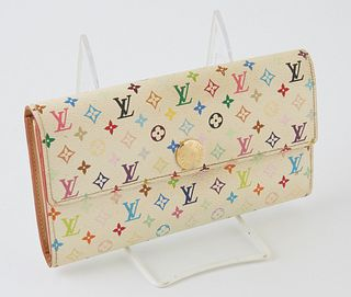 Louis Vuitton Limited Edition Murakami Sarah 6 Wallet, the white coated canvas multicolor monogram with a golden brass accent snap, ...