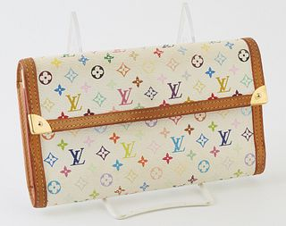 Louis Vuitton Limited Edition Murakami International Wallet, the white coated canvas with multicolor monogram, golden brass accents ...