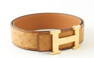 Hermes Ostrich Leather H Belt