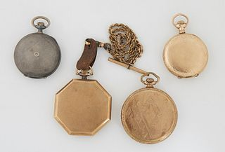 Group of 4 Watches: Tempus .935 Sterling, Illinois Octagonal Pocket Watch, Walthan, 1921, and a Elgin Man's Pocket Watch