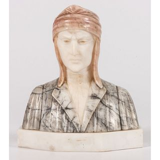 A Marble and Alabaster Bust of Dante