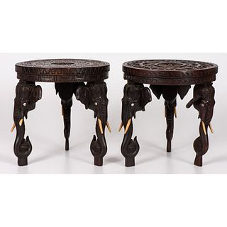 A Pair of Elephant Carved Stands