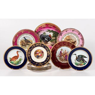 A Group of English & Continental Porcelain Cabinet Plates