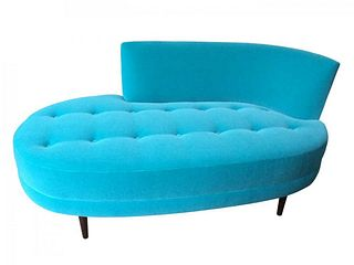 Mid Century Modern Style Chaise with Tufted Seat