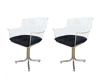 2 Lucite & Chrome Chairs by Leon Rosen-Pace Collection