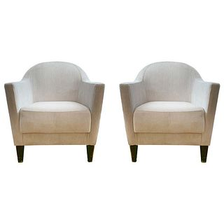 Pair of 1960s Armchairs in Cream Color Fabric