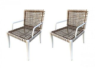 Pair of Armchairs in Powder Coated Steel & Wicker