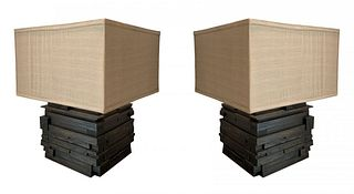 Pair of Modern Table Lamps With Stacked Wood Bases