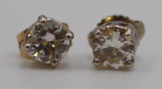 JEWELRY. 14kt Gold Diamond Stud Earrings.