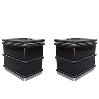 Jay Spectre Nightstands in Black Lacquer & Metal Plinth