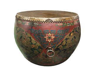 Chinese-style 19/20th Century drum-shaped coffee Table