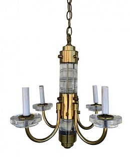 Brass & Lucite Chandelier attb to Charles Hollis Jones