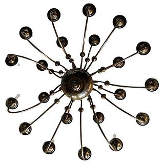 21 Arm Solid Brass Chandelier by Feldman, CA 1980s