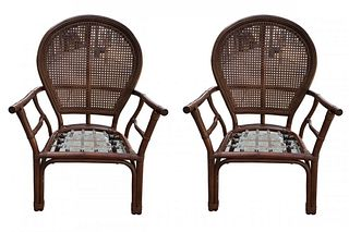 Pair of Ballon-Back Armchairs by Ficks Reed
