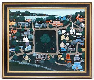 Susan Potter Primitive Folk Art Townscape Painting