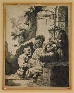 Johann Hertel After Rembrandt Biblical Etching