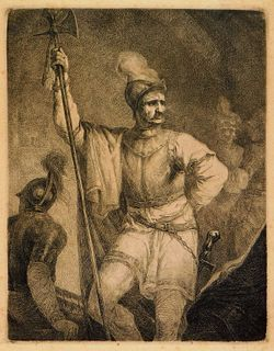 18C European Soldier Standing Guard Etching