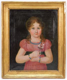 19C American School Young Girl Portrait Painting