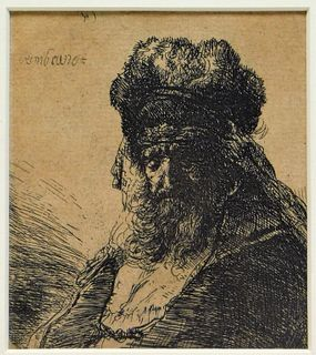 Rembrandt Old Man in a Fur Coat Etching