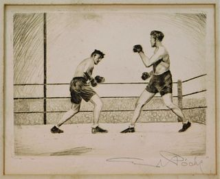 American Social Realist Ashcan Boxing Etching