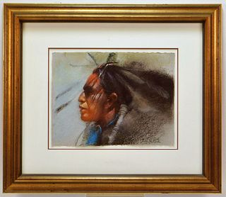 Clifford Beck Native American Pastel Drawing