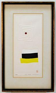 Haku Maki Abstract Relief Woodblock Print