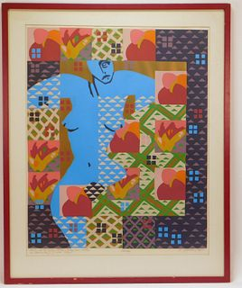 Coburn Card Modern Abstract Nude Figure Lithograph