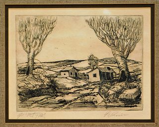 R. Irwin Contemporary American Farm Scene Etching