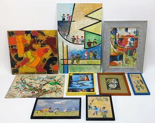 9PC Frank Kessler Modern Abstract Paintings