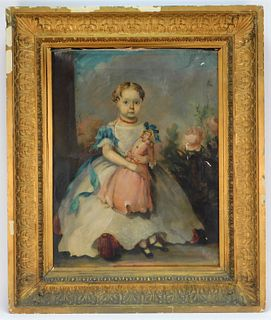 1860 American Folk Art Child Boston Painting
